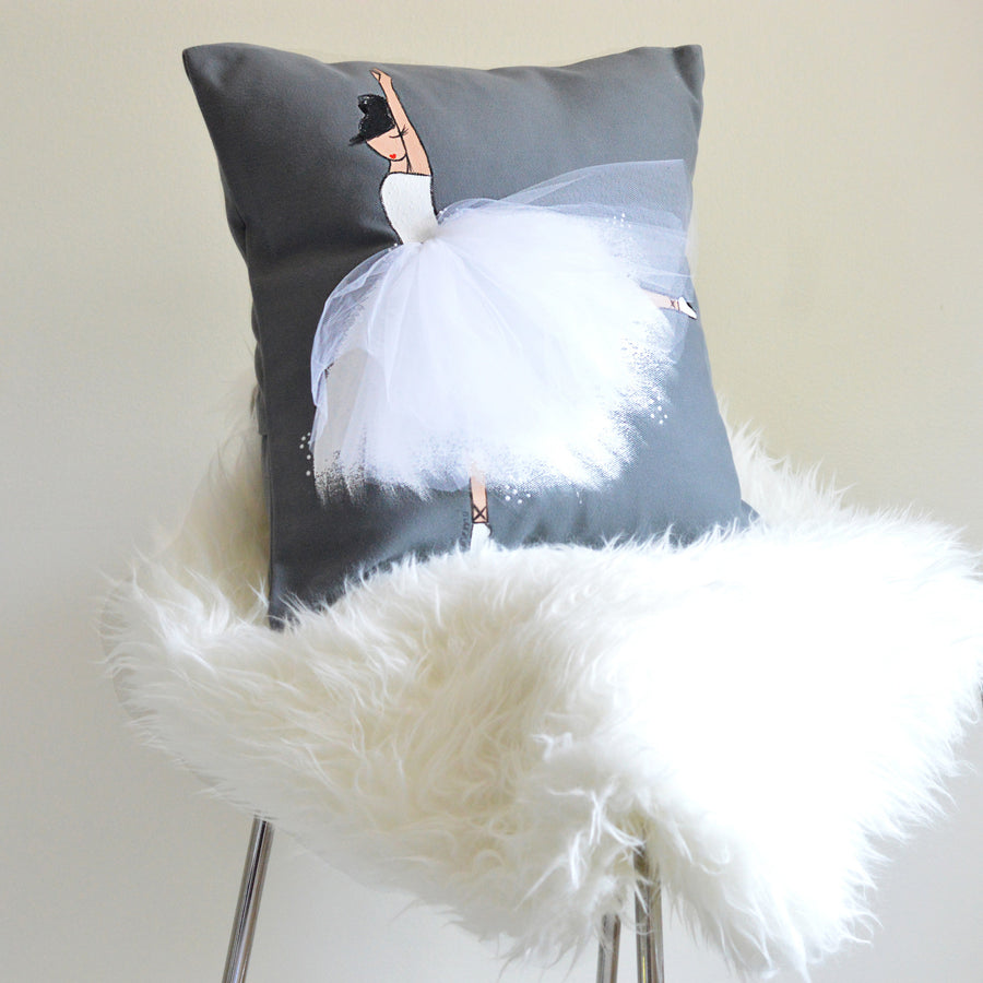 Nursery Decor - Grey Ballerina Pillow Cover | Shenasi Concept