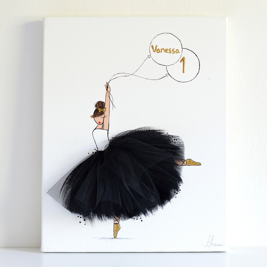 personalized nursery decor - ballerina canvas art balck tutu- shenasi concept