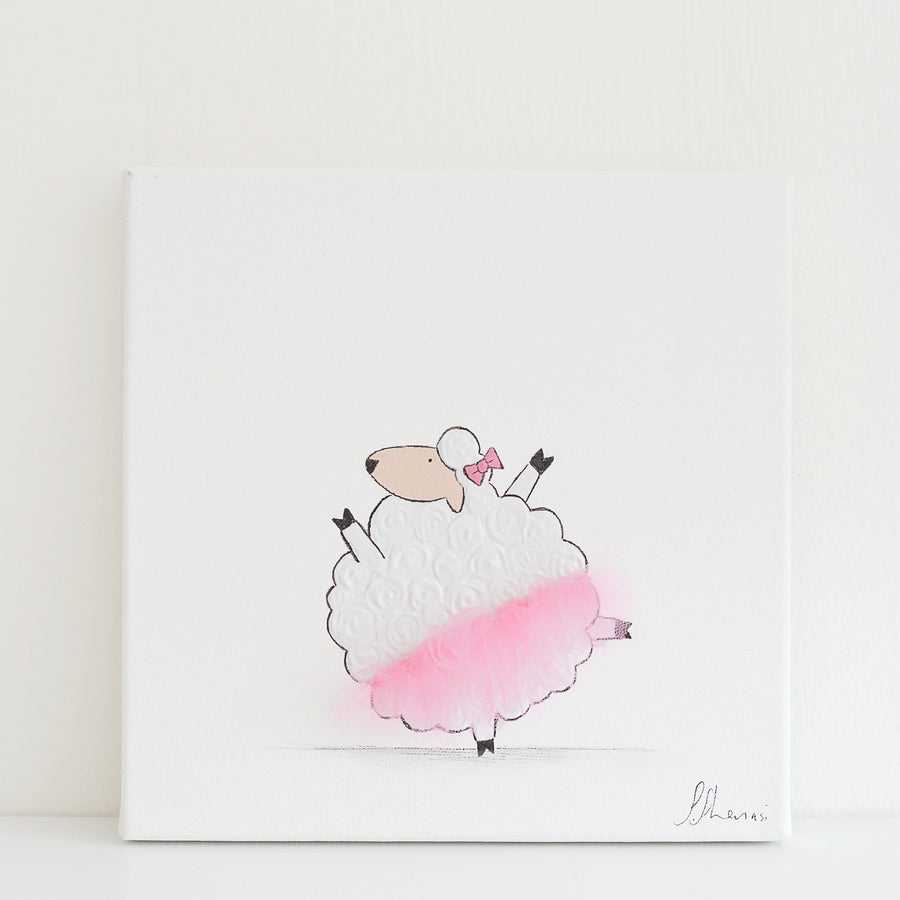 Nursery Wall Art for Girl - Tammy sheep with tutu | Shenasi Concept