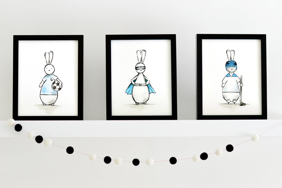 Boys Nursery Art Prints Set  - Superhero Bunny | Shenasi Concept