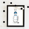 nursery art print boy - superhero bunny hocky player | shenasi concept