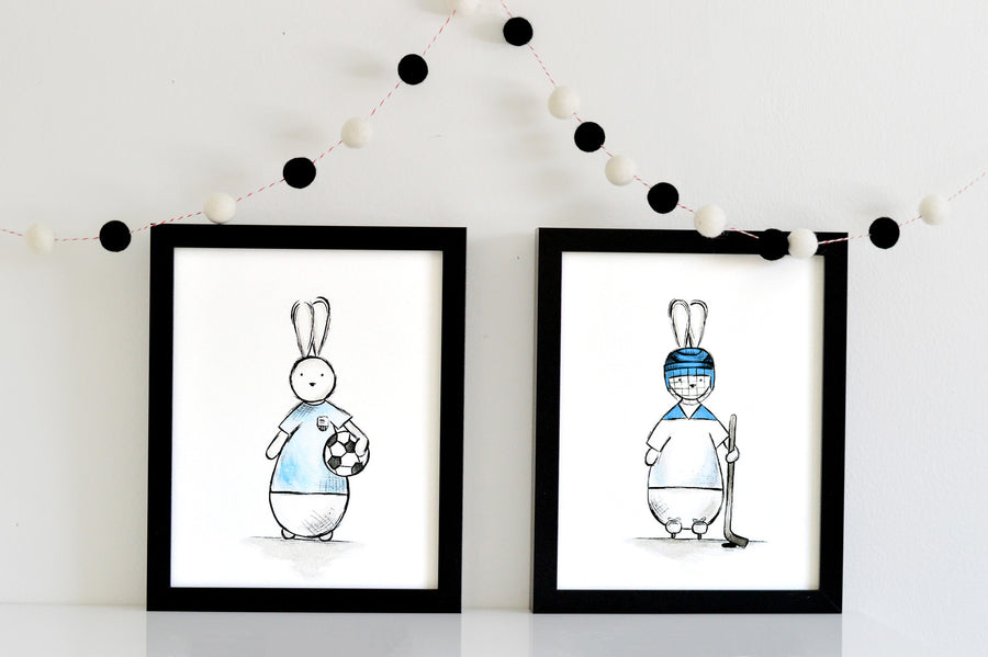 Boys Nursery Decor Set - Soccer and Hocky Bunny | Shenasi Concept