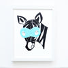 Nursery Wall Decor - Miles Zebra Superhero with Blue Mask Art Print | Shenasi Concept