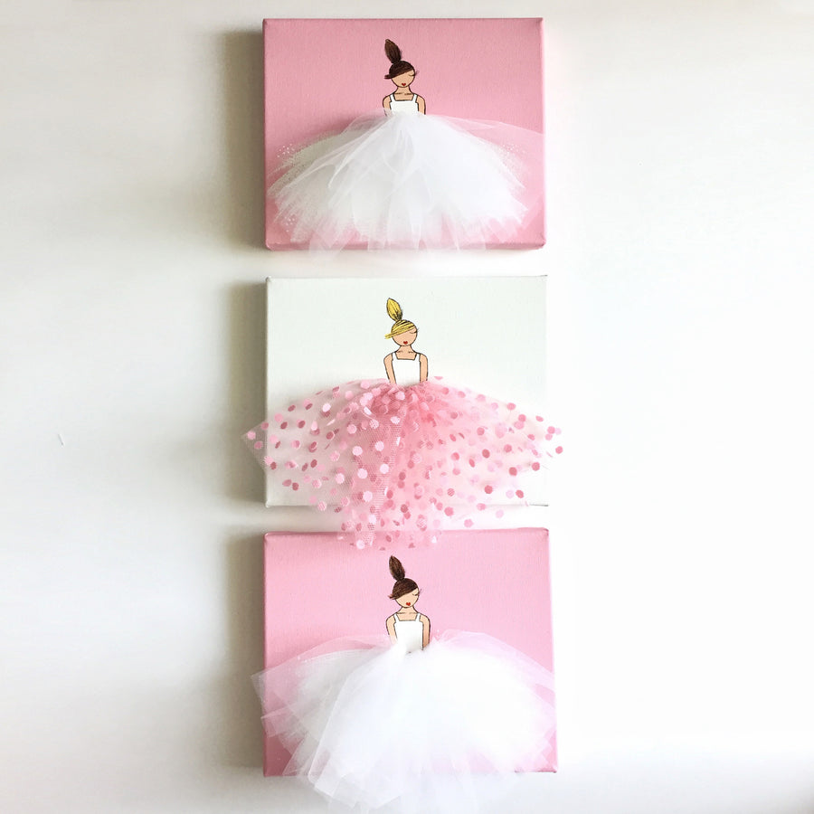 Set of Dressi Divas - Pink and Polkadots Ballerina Art