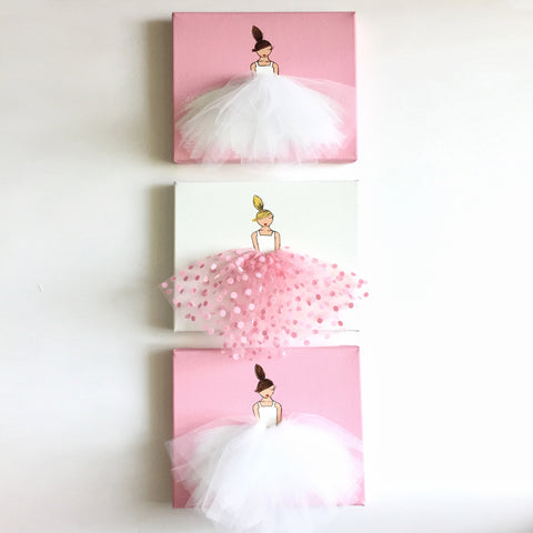 3 Ballerinas Set - Dressi Divas (Style A) - Pink or Purple Ballerinas