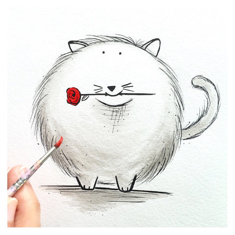 Snow Ball - The Cat with Rose (Print)