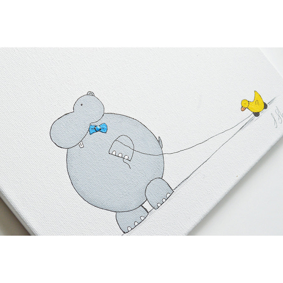 Nursery Decor Unisex - Hand Painted Hippo Duck | Shenasi Concept