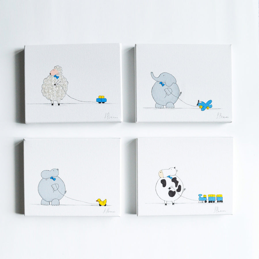 Hand Painted Nursery Art Set - Animals For Kids | Shenasi Concept