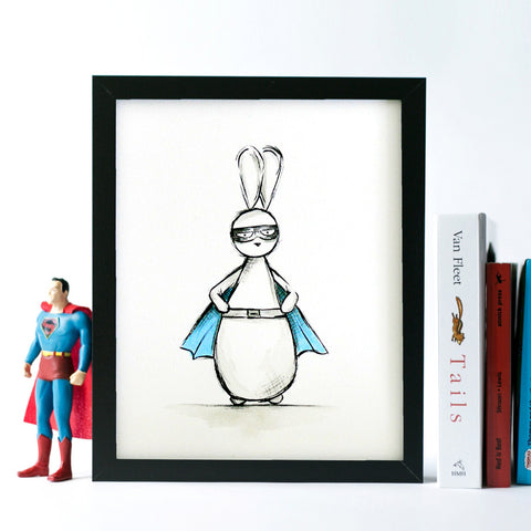 Captain Bun - Superhero Bunny (Print)