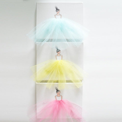 3 Ballerinas Set - Dressi Divas (Style C) - Choose Tutu Colour on White