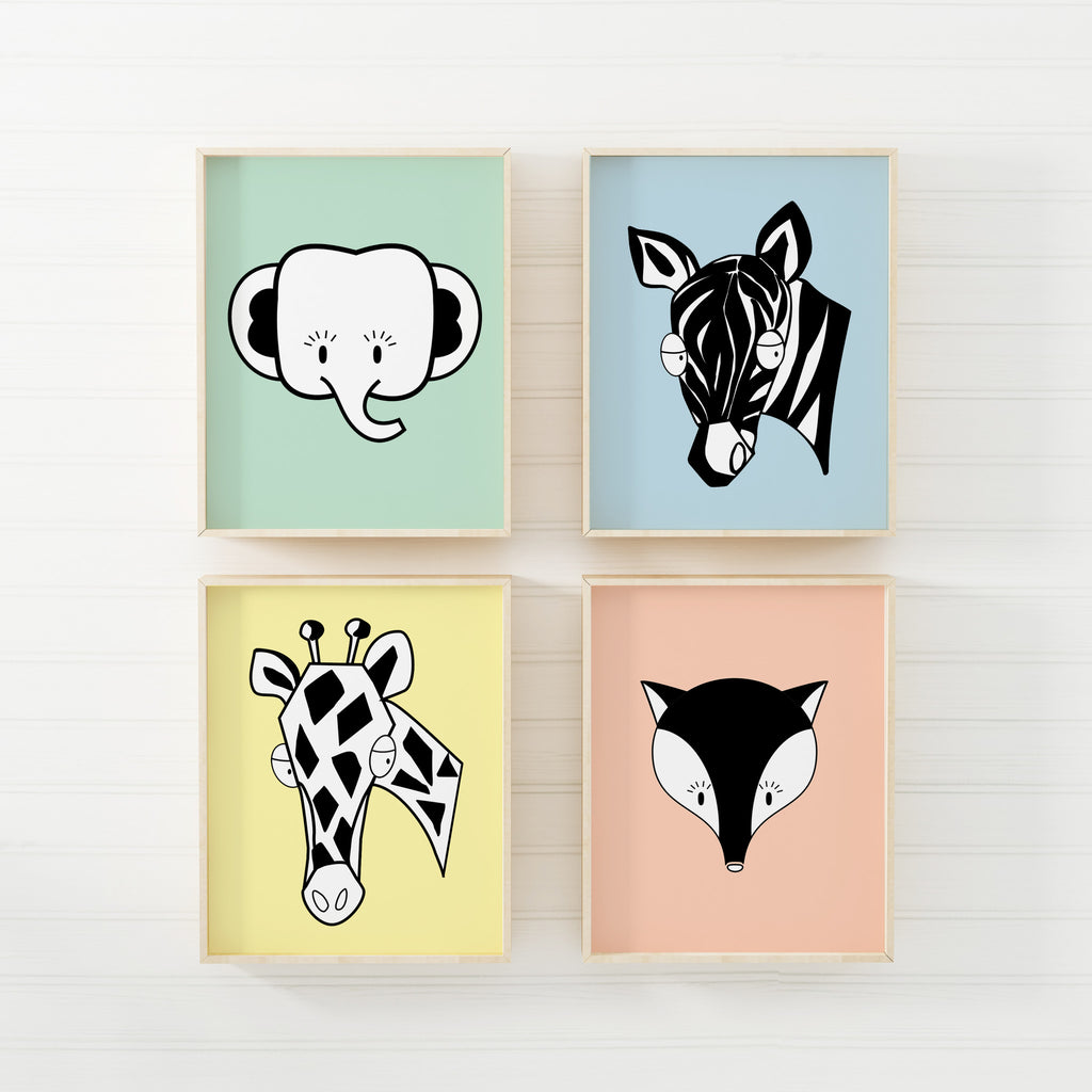 boy nursery art print - safari animals - shenasi concept