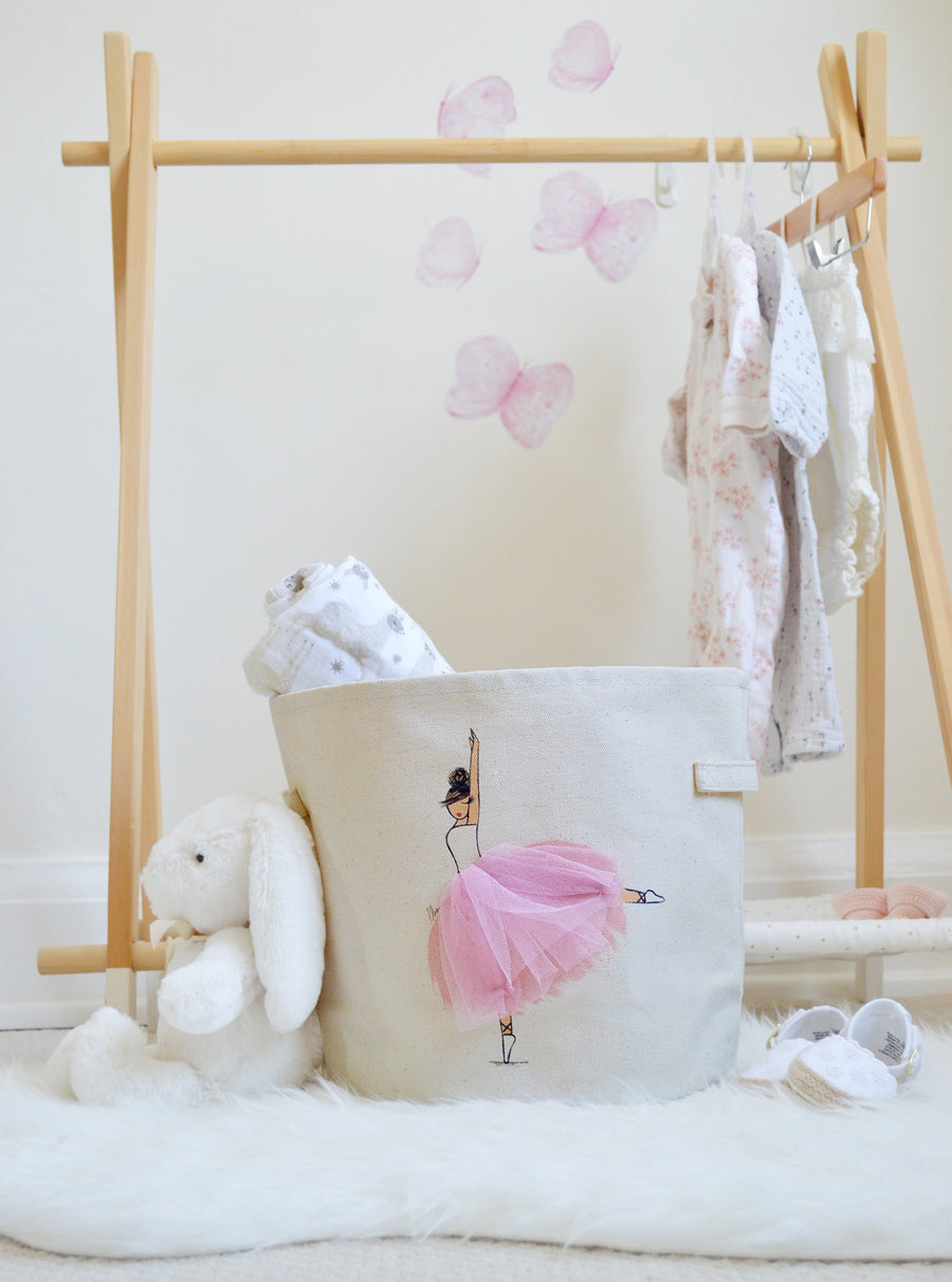 Pink Canvas Storage Bin, Toy Basket for Girl Nursery and Kids Rooms