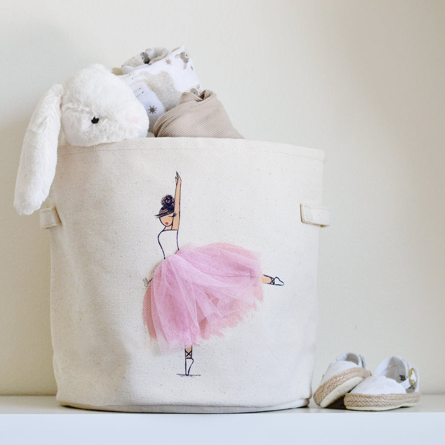 Ballerina Canvas Storage Bin, Toy Basket for Nursery and Kids Rooms | Peppy Lu