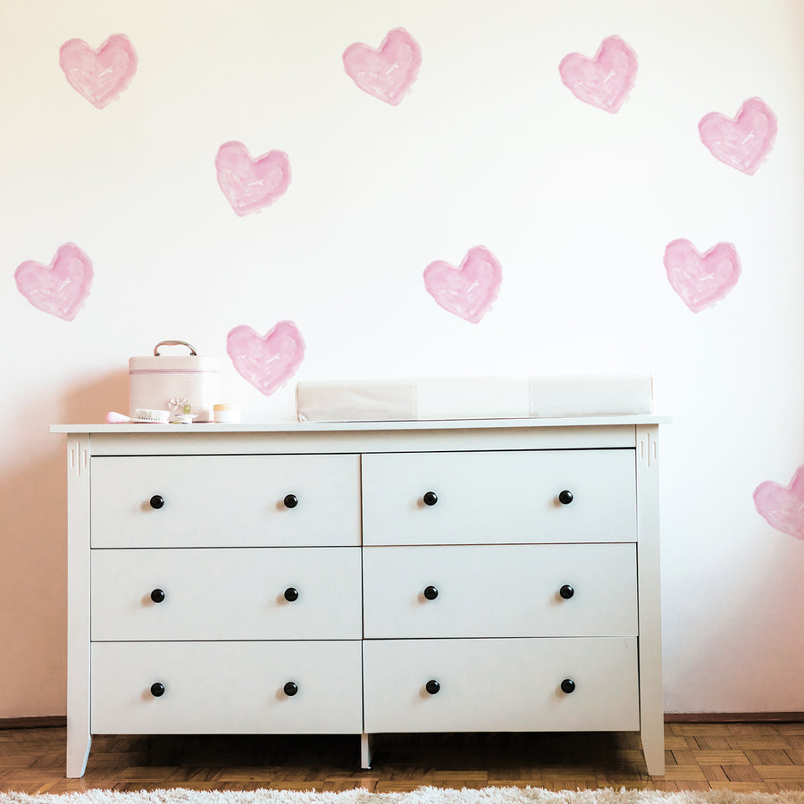 watercolor pink hearts nursery girls room wall decal | Peppy Lu
