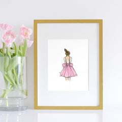 girls room decor set - girl in pink dress - shenasi concept