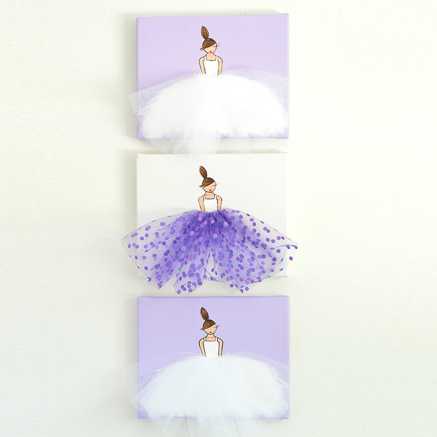 Girls Wall Decor Set (Style A) - Purple Ballerina Art