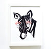 Nursery Decor Girl - Mildred Zebra with Pink Eyelashes Art Print | Shenasi Concept