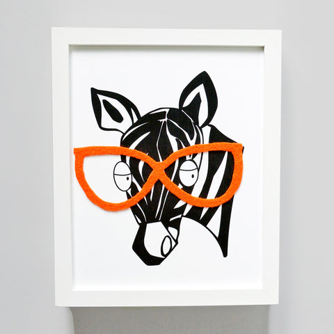 Mildred - The Zebra with Glasses (Print)