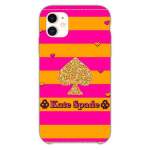 Custodia Cover iphone 11 Pro Max Kate Spade Orange Pink Line Art