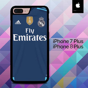 Blue Jersey Real Madrid O1014 custodia cover iPhone 7 Plus , iPhone 8 Plus