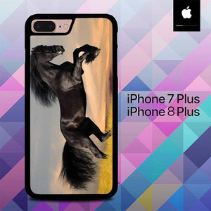 Horse black running O7597 custodia cover iPhone 7 Plus , iPhone 8 Plus