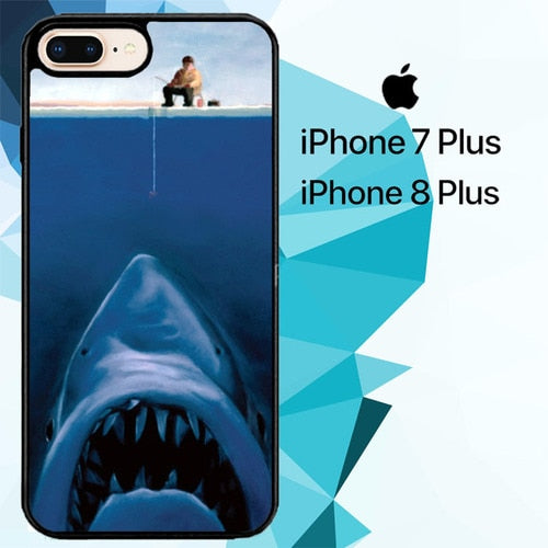 Funny Fishing Shark custodia cover iPhone 7 Plus , iPhone 8 Plus
