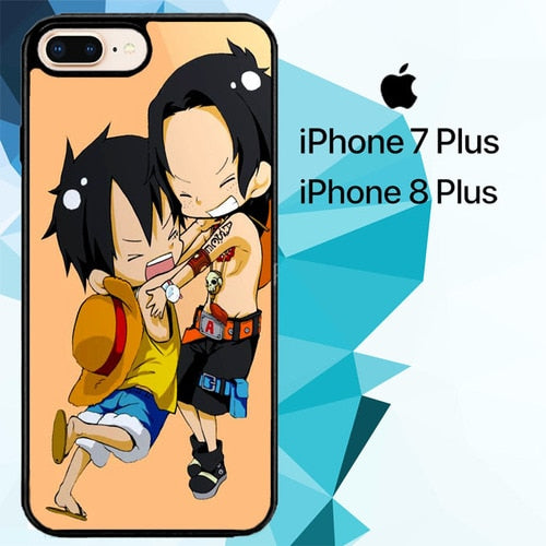 luffy and brother chibi Z0951 custodia cover iPhone 7 Plus , iPhone 8 Plus