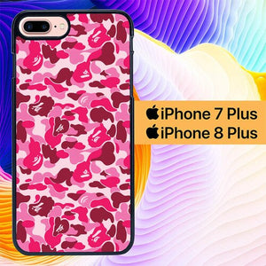 Bathing Ape Bape Pink Camo L1872 custodia cover iPhone 7 Plus , iPhone 8 Plus