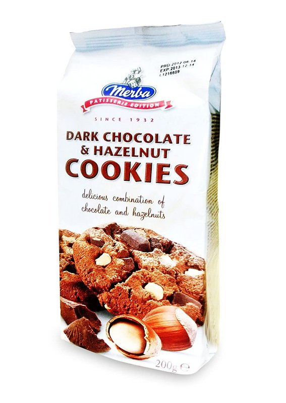 MERBA Dark Chocolate - Buy Merba Dark Chocolate & Hazelnut Cookies 200GM Online in India.