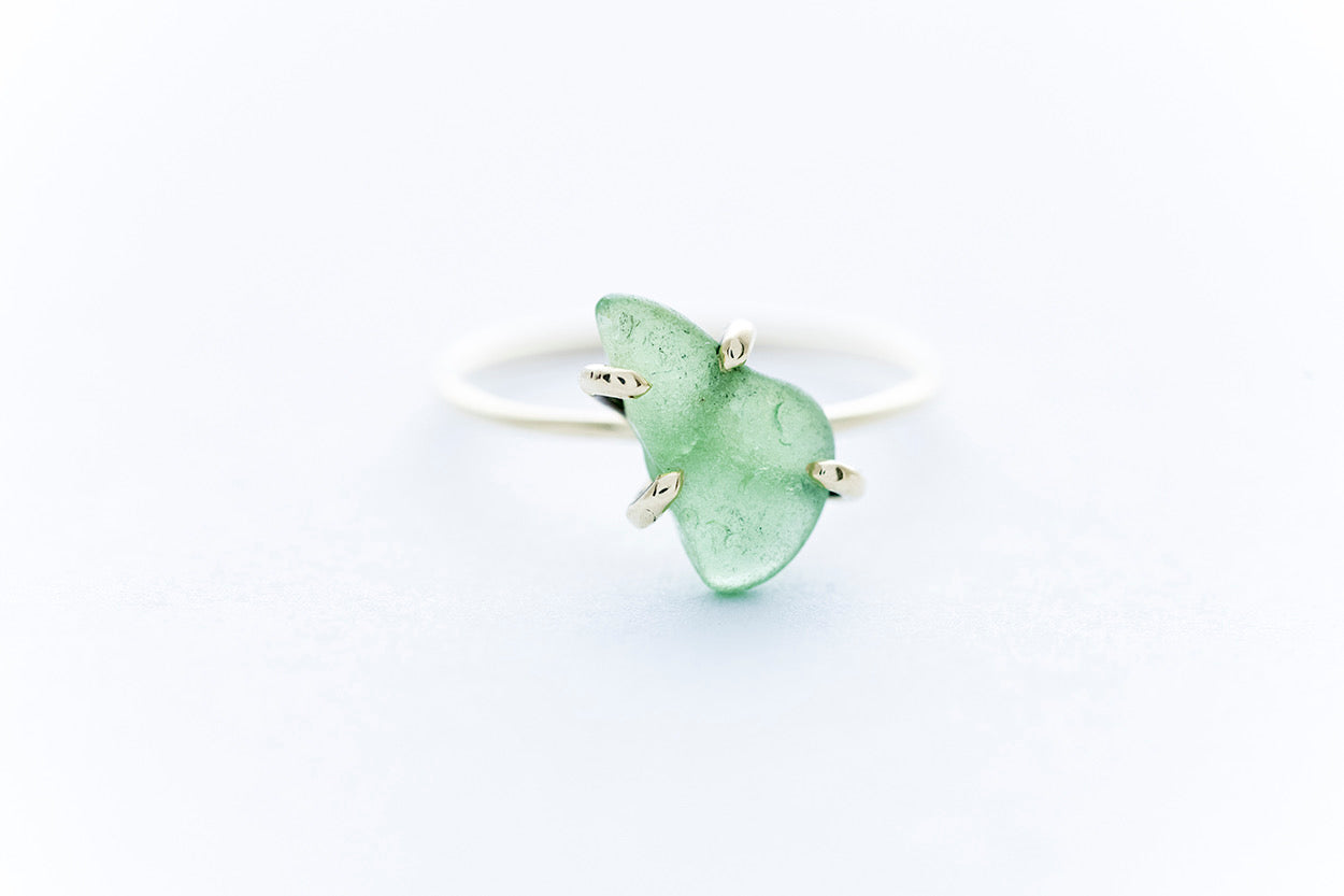 OCEAN GLASS ring - 14K yellow gold
