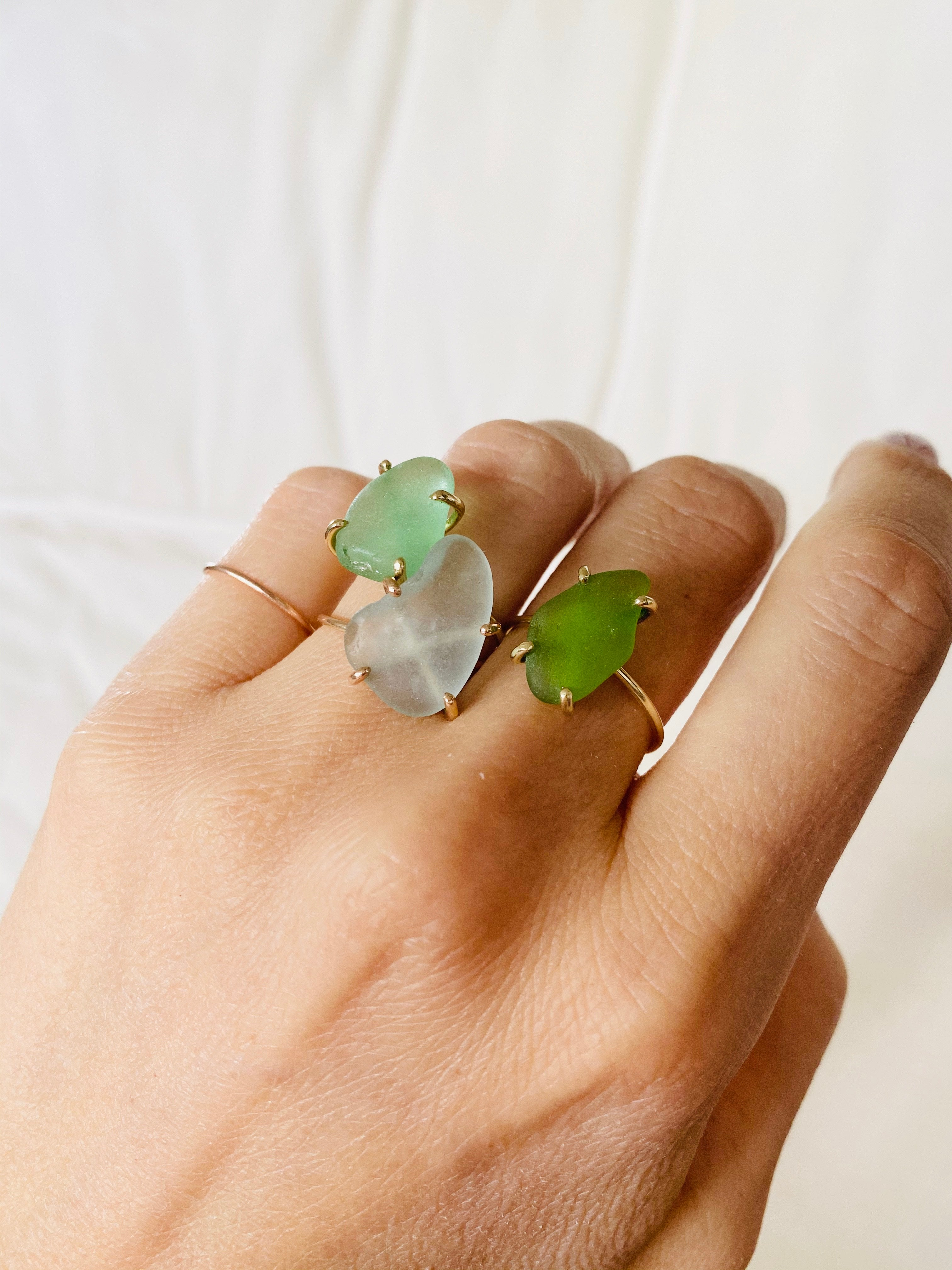 OCEAN GLASS ring - 14K white gold