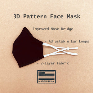 3D Pattern Washable Double-Layered Cloth Face Mask with Adjustable Ear Loops & Nose Bridge Inserted, Made in the USA