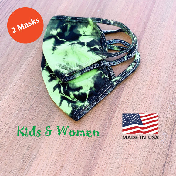 Kids Women Hand Tie Dye, 2-Layer Cotton 2 pcs-pack Face Masks, Washable Kids Face Masks, Made in the USA - Green/Black