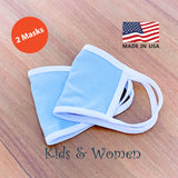5 Pack Kids Sizes Double Layer Face Mask with White Binding Trim