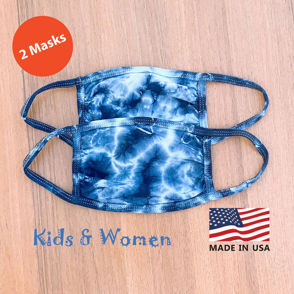 Hand Tie Dye, 2-Layer Cotton 2 pcs-pack Face Masks, Medium Size (for youth and adult with petite face), Made in the USA - Blue/Mint