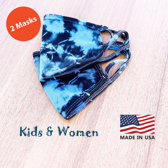 Kids Women Hand Tie Dye, 2-Layer Cotton 2 pcs-pack Face Masks, Washable Kids Face Masks, Made in the USA - Blue/Black