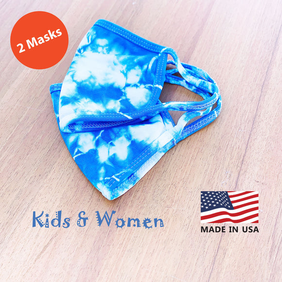 Kids Women Hand Tie Dye, 2-Layer Cotton 2 pcs-pack Face Masks, Washable Kids Face Masks, Made in the USA - Blue/White