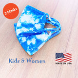 Hand Tie Dye, 2-Layer Cotton 2 pcs-pack Face Masks, Medium Size (for youth and adult with petite face), Made in the USA - Blue/White