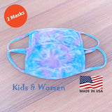 Hand Tie Dye, 2-Layer Cotton 2 pcs-pack Face Masks, Medium Size (for youth and adult with petite face), Made in the USA - Cotton Candy