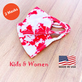 Kids Women Hand Tie Dye, 2-Layer Cotton 2 pcs-pack Face Masks, Washable Kids Face Masks, Made in the USA - Red/White