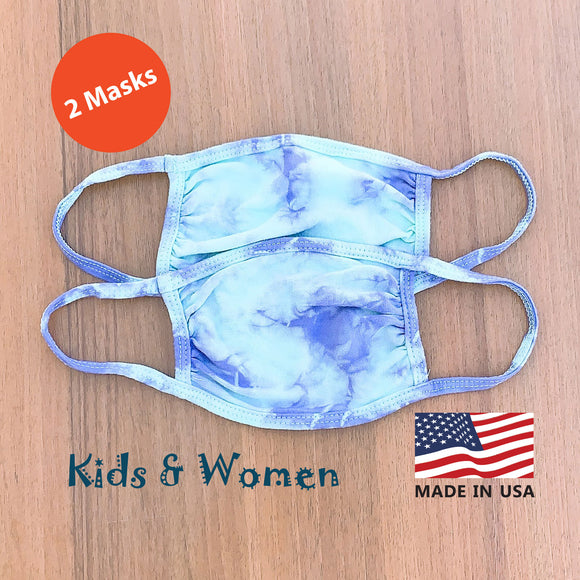 Kids Women Hand Tie Dye, 2-Layer Cotton 2 pcs-pack Face Masks, Washable Kids Face Masks, Made in the USA - Violet/Mint