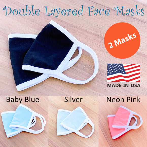 5 Pack Medium Size (for youth and adult with petite face) Double Layer Face Mask with White Binding Trim