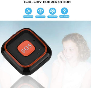ASHATA GPS Tracker, Mini Locator with SOS Push-Button for Kids, Two-Way Intercom APP Tracking