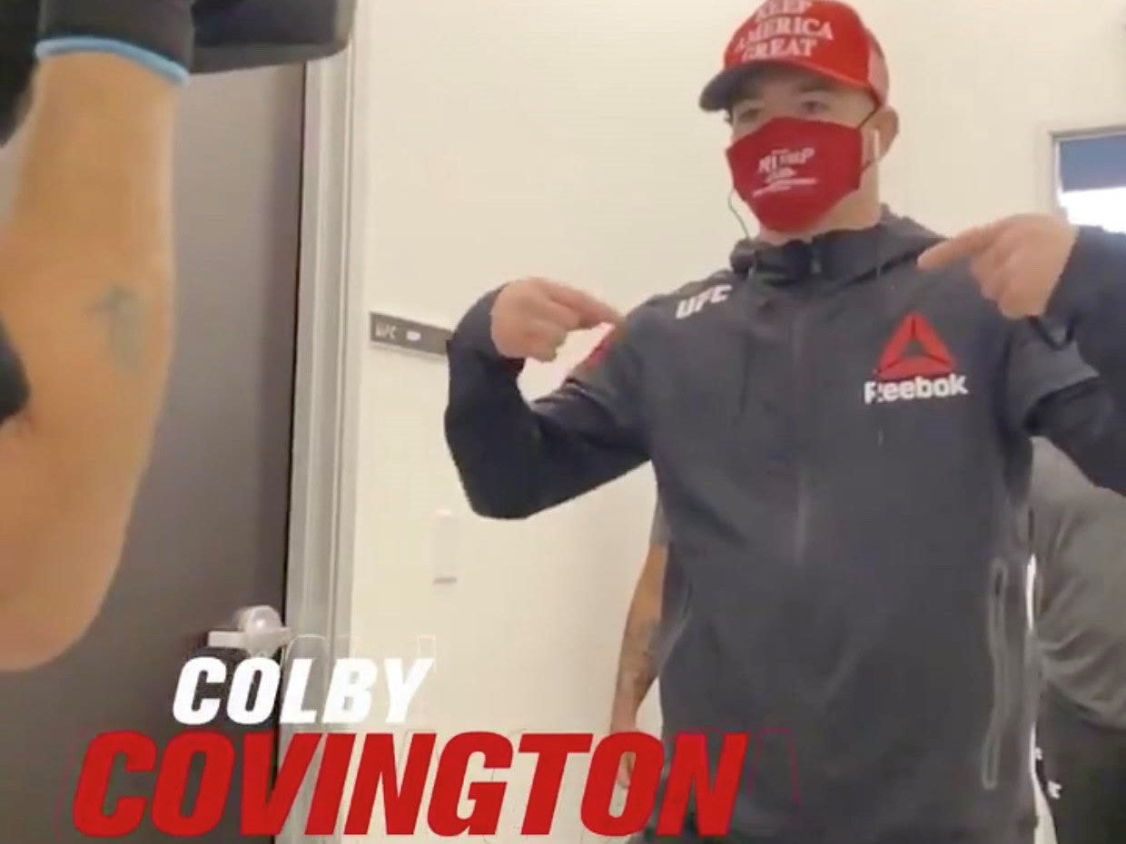 Colby Covington Wears Our Trump 2020 Mask Leading To Landslide Victory