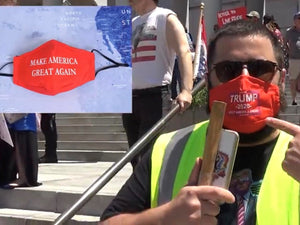 Fleccas Featuring Trump 2020 Masks at the Open LA Protests