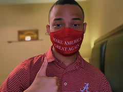 CJ Pearson wearing MAGA mask from Trump 2020 Masks