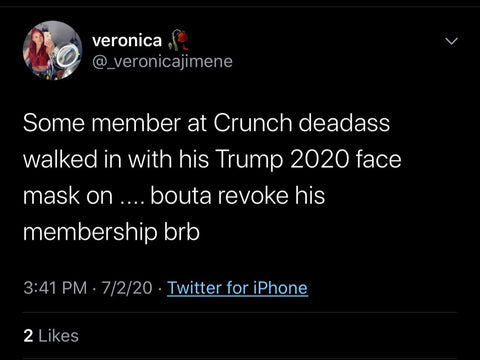Trump 2020 mask reaction revoke membership