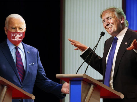 Biden wearing Trump 2020 mask