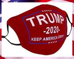 red trump 2020 face mask with american flag background