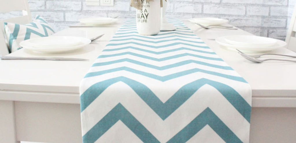 Table Runner U0026 Cushion Set: Aqua Blue Chevron